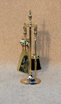 "Brass urn Companion Set either 18"" or 21"" high with 4 tools - Poker, Shovel, Brush and Spring Tongs."